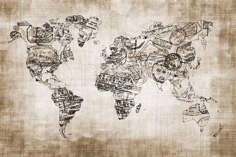 marque de cuisine tableau numérique mappemonde du voyageur sepia une toile