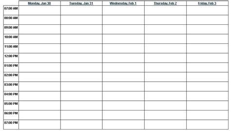 printable weekly calendar  time slots