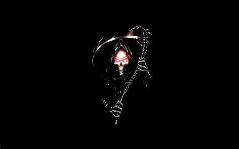 Black Background Death Grim Reapers Scythe Skulls - WallDevil