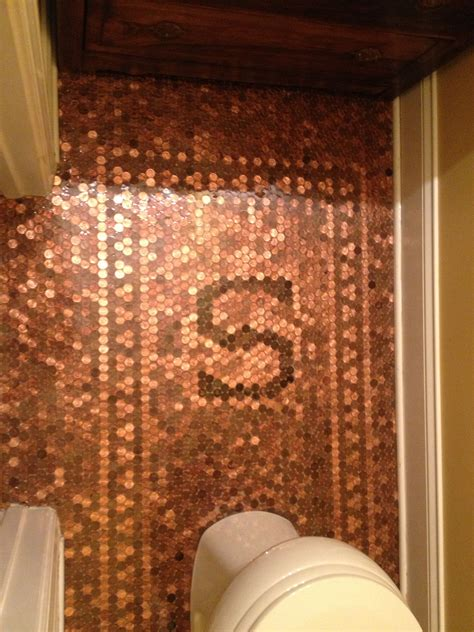 Kitchen Floor Of Pennies by Finished Product Floor Complete With Family Initial