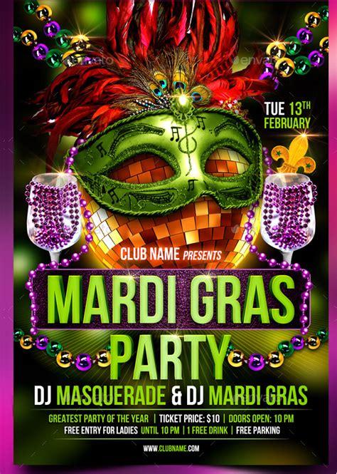 mardi gras party flyer templates  premium