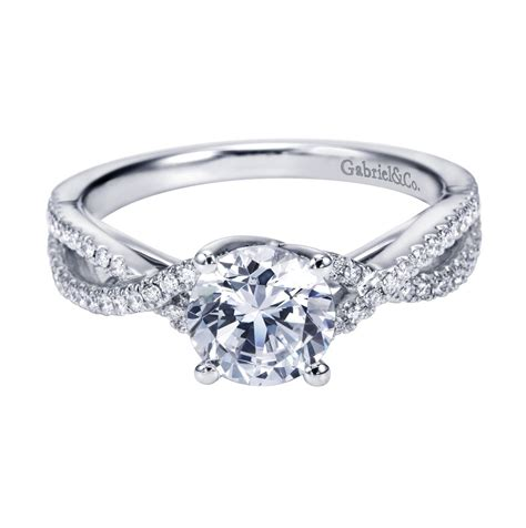 gabriel co 14k white gold criss cross halo cathedral