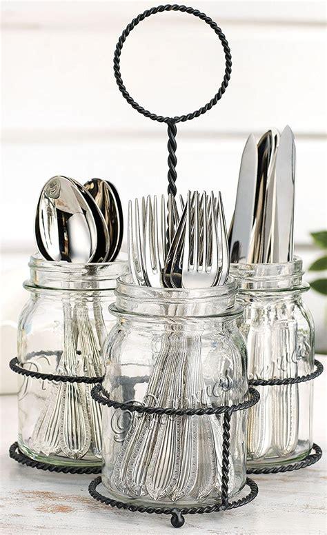 flatware caddy jar caddies essentials mason utensil holders