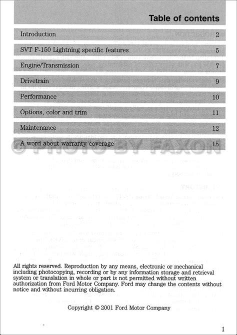 ford   svt lightning pickup truck owners manual