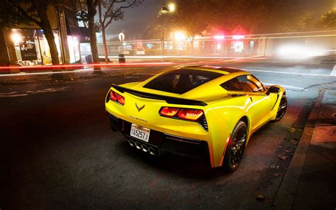 Chevrolet Corvette Stingray Coupe C7 Supercar In Night