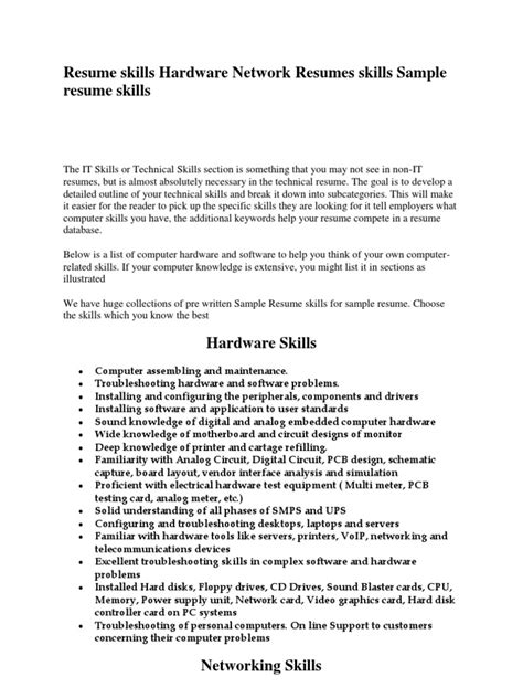 Hardware And Networking Resume Skills by Resume Skills Computer Hardware Sle Ccna Cv And Sle Computer Technician Resume Tech For