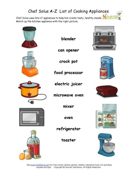 find  kitchen appliance matching worksheet