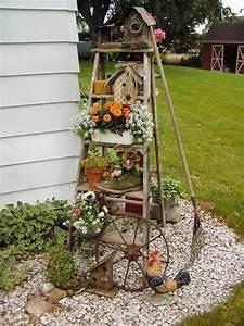 Pinterest Bricolage Jardin : bricolage de jardin tag re porte plantes en vieil escabeau ~ Melissatoandfro.com Idées de Décoration