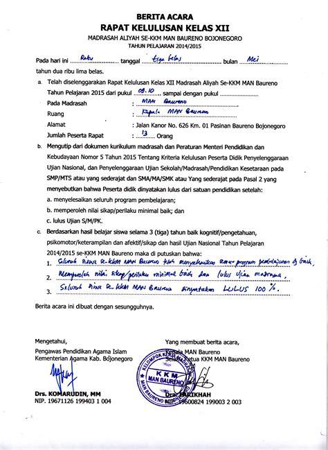 Format Berita Acara Rapat by Rapat Kelulusan Siswa Kelas Xii Baureno