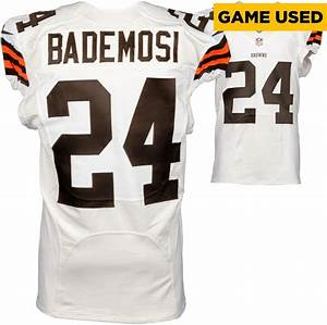 Johnson Bademosi Cleveland Browns Game Used White #24 ...