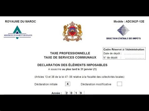 declaration de la taxe professionnelle au maroc fichier