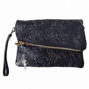 Evening Clutch Bag, Wristlet Leather black Shoulder bag ...