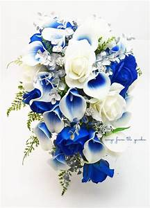 Silver Blue White Cascade Bridal Bouquet Blue Picasso ...