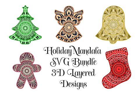 Instant download for use with your cricut or silhouette #cutfile #svg #free. Christmas Mandala SVG Bundle - 3D Layered Mandalas (754368 ...