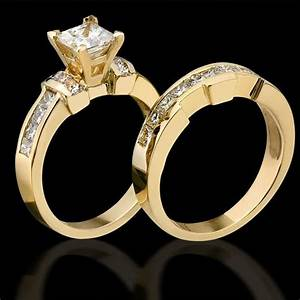 2 carat channel set 4 prong princess diamond engagement With princess diamond wedding ring set