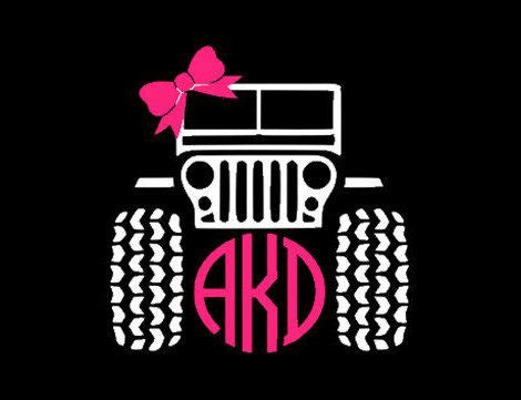 jeep circle monogram  bow decal       oneasleystreet  etsy httpswwwetsy