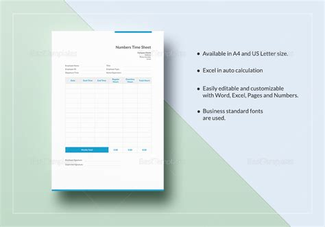 numbers timesheet template  word excel apple pages