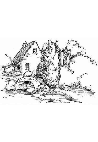 Coloring Adults Landscape Pages Detailed Fall Adult