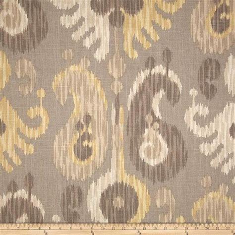 grey beige putty  yellow ikat curtain panel custom