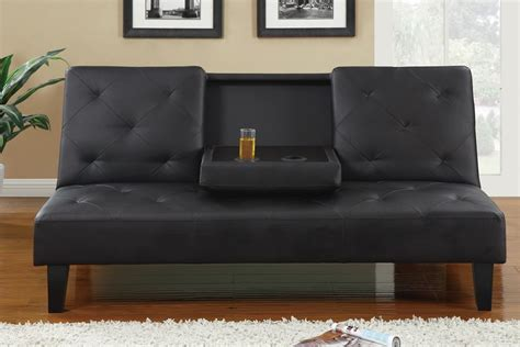 black leather sofa futon black leather button tufted style adjustable futon sofa bed