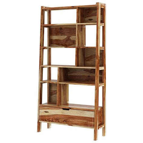 Rustic Ladder Bookcase by Alta Rustic Solid Wood 10 Open Shelf Leaning Ladder