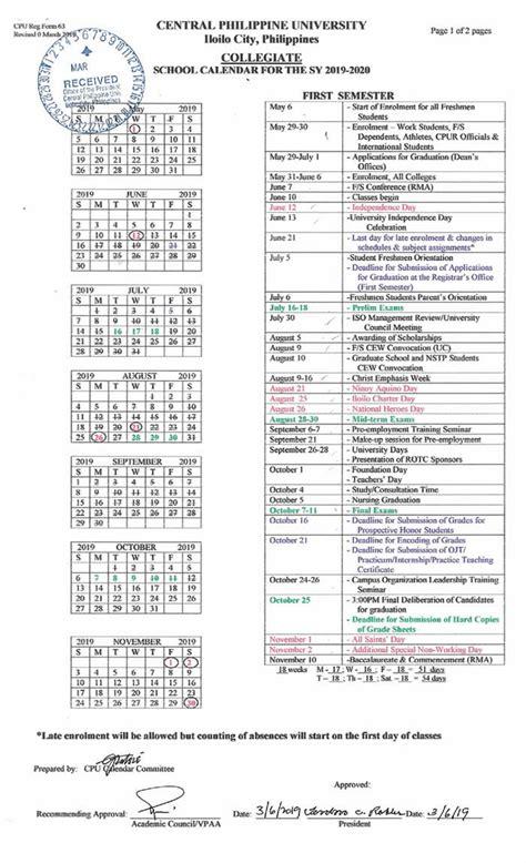 college calendar central philippine university