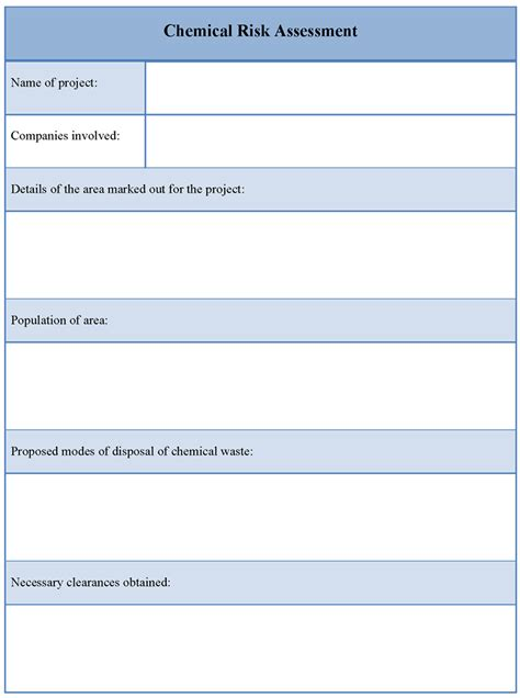 Chemical Risk Assessment Template by Pin Blank Nursing Assessment Form On
