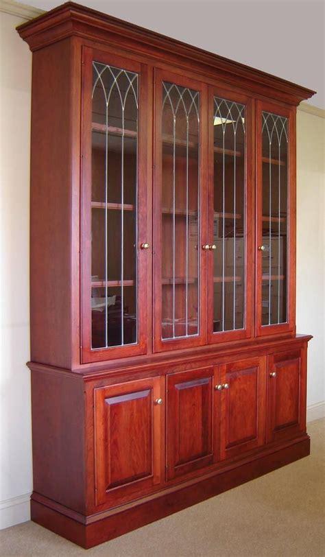 custom  cherry bookcase  leaded glass doors