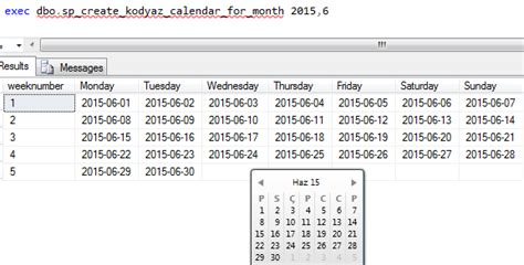 create new table sql create monthly calendar using sql in sql server