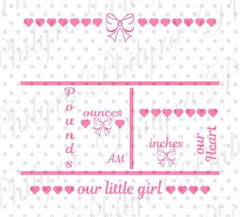 Green leaf birth announcement template. Baby Girl Birth Statistic Template Birth Announcement Svg ...