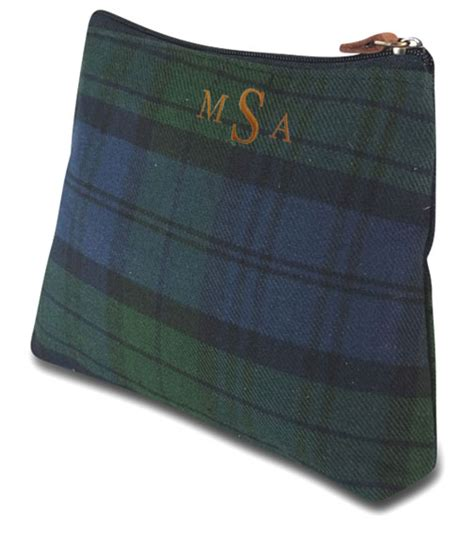 monogram tartan plaid cosmetic bag