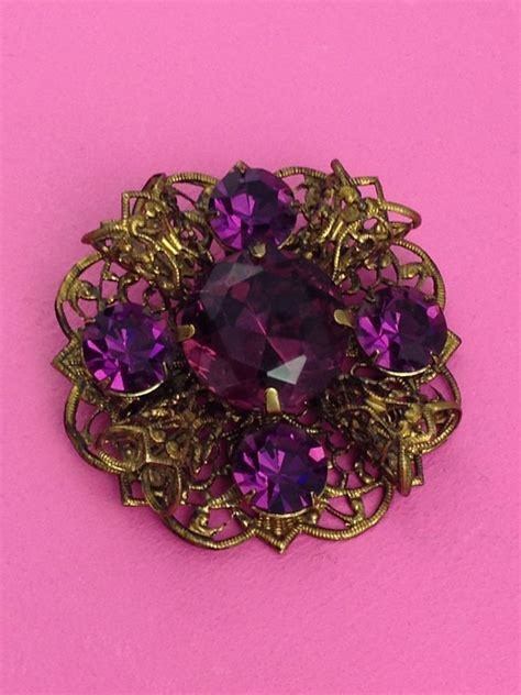 gorgeous super sized purple vintage brooch st cyr vintage