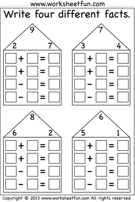 multiplication fact families worksheets search results for addition fact family house template calendar 2015