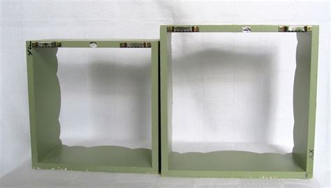 Set Of 2 Wood Shadow Box Wall Shelves Square With