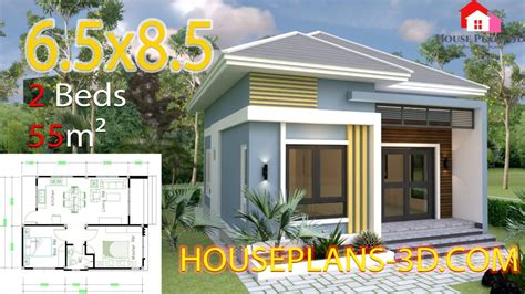 Small House Design Plans 7x7 with 2 Bedrooms en 2020