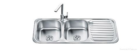 Stainless steel double bowl sink with drainer board   OD