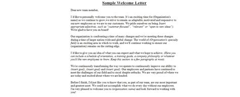 welcome letter to new employee sle welcome letterbusiness letter exles business