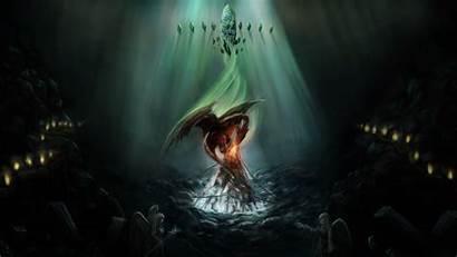 Wings Fire Dragon Angel Fantasy Digital Dark