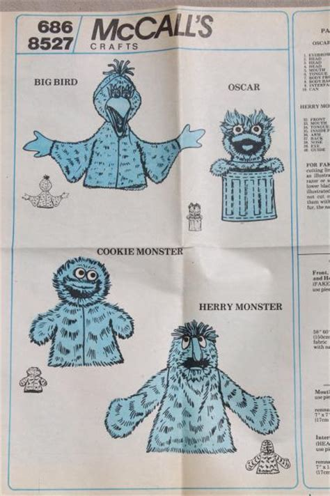 mccalls crafts sewing pattern sesame street puppets big