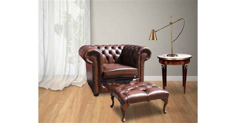 Leather Chesterfield Armchair & Footstool|designersofas4u
