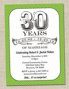 30th anniversary invitation green emerald vintage With 30th wedding anniversary invitations free