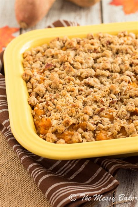 sweet potato casserole with pecan topping pecan streusel topped sweet potato casserole one sweet mess