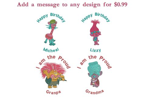 Embroidery And Applique Designs by Princess Poppy From Trolls Machine Embroidery Design