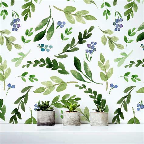 peel and stick vinyl tile watercolor green leaves repositionable wallpaper