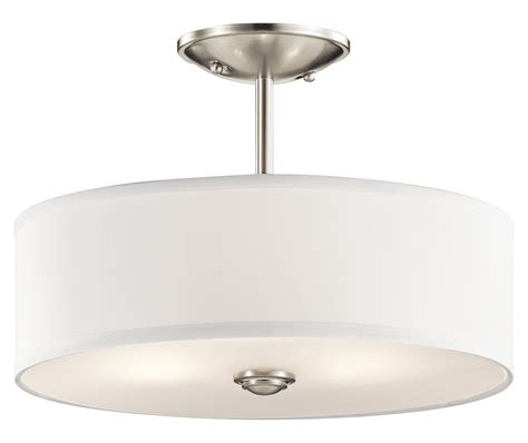 kichler brushed nickel shailene 3 light semi flush ceiling