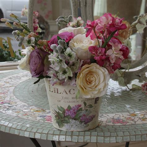 shabby chic flower arrangements arrangement of silk roses by la maison des roses notonthehighstreet com