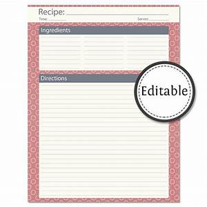 Recipe card full page fillable instant download for Full page recipe template editable