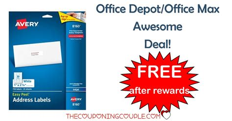 office max label office depot office max avery address labels free after rewards