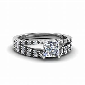 princess cut split thin band wedding ring set with black With princess diamond wedding ring set