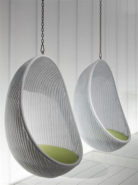 furniture looking white woven rattan two hanging egg